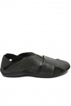 Sandale kaki bărbați cu design modern și talpa cusută