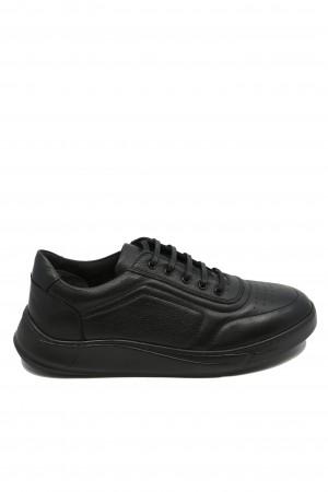 Pantofi bărbați negri stil sport, din piele naturală