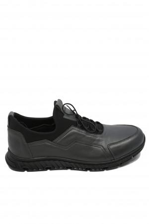 Pantofi bărbați gri, urban casual, din piele naturală