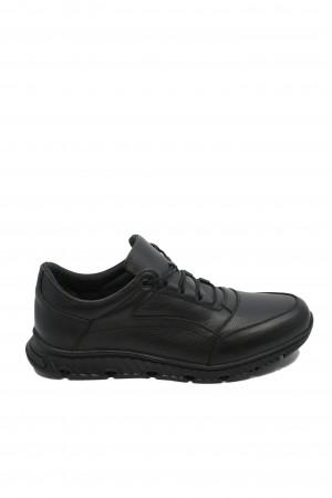 Pantofi negri bărbați în stil sportiv, din piele naturală