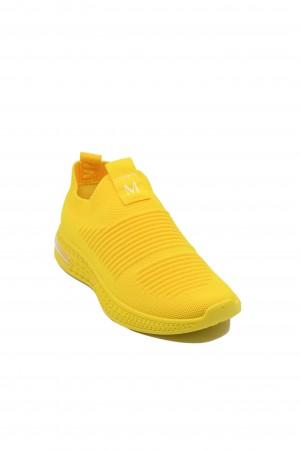 Sneakers damă galbeni din material textil