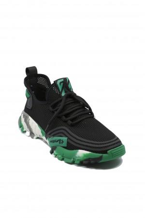 Pantofi sport Battisto Lascari, negru cu verde, din material textil