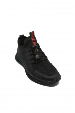 Sneakers Franco Gerardo negri din material textil și piele întoarsă
