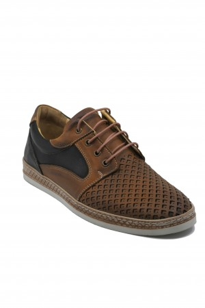Pantofi maro perforați bărbați din piele naturală