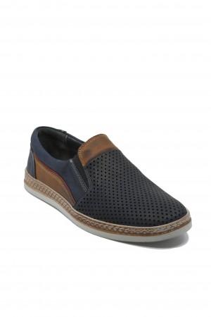 Pantofi slip-on perforați bleumarin bărbați din piele naturală