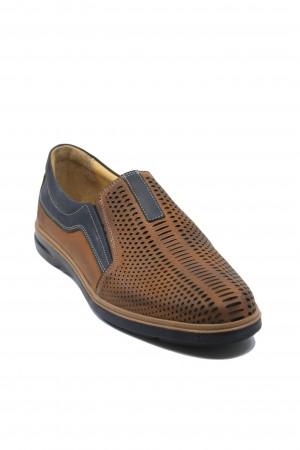 Pantofi casual perforați maro cu bleumarin dn piele naturală