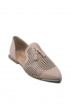 Pantofi damă roz decupați lateral, din piele naturală