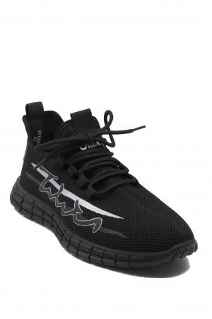 Sneakers Otter negri, din material textil plasă