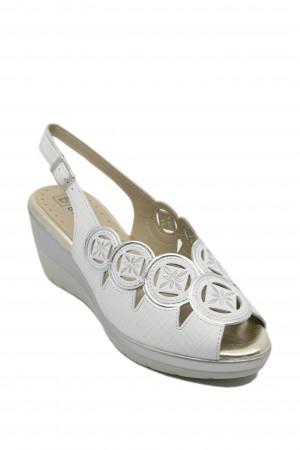 Sandale damă din piele naturală albe cu broderie argintie