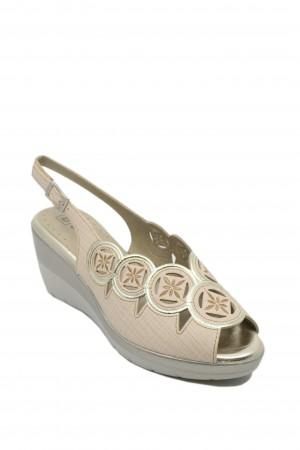 Sandale damă din piele naturală bej cu broderie aurie
