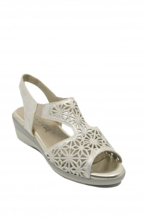Sandale damă aurii din piele naturală cu model floral