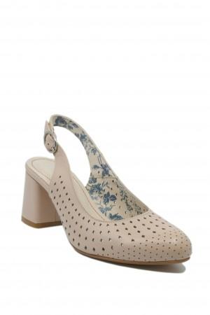 Pantofi damă decupați nude din piele naturală