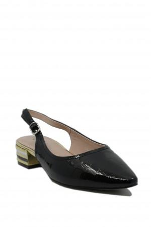 Pantofi damă Epica decupați, negri, din lac