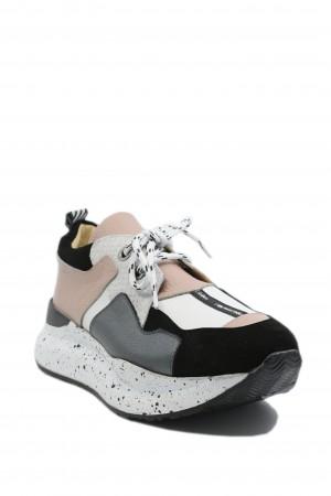 Pantofi sport damă ILI albi nude, din piele naturală
