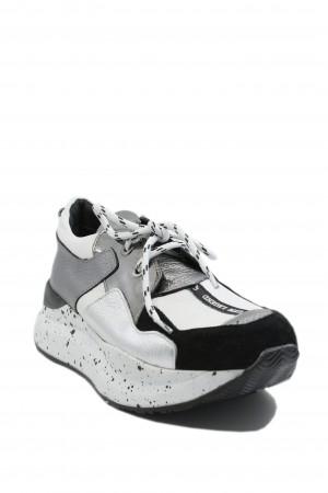 Pantofi sport damă ILI albi argintii, din piele naturală