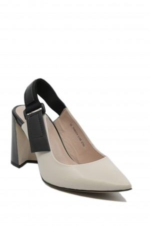Pantofi damă decupați bej cu negru, din piele naturală