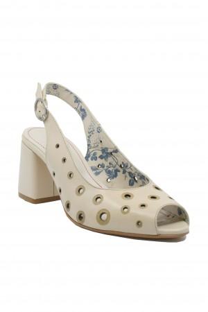 Pantofi damă decupați bej din piele naturală