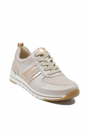 Pantofi sport damă roz pal sidefat, din piele naturală