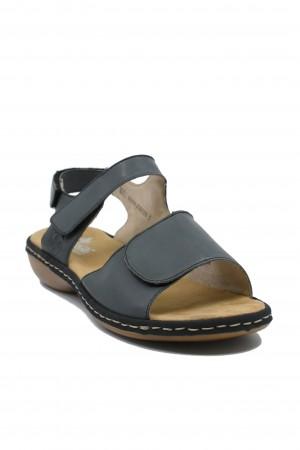 Sandale damă bleu reglabile, din piele naturală