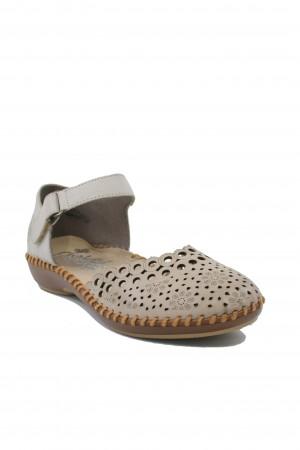 Pantofi decupați damă bej din piele naturală