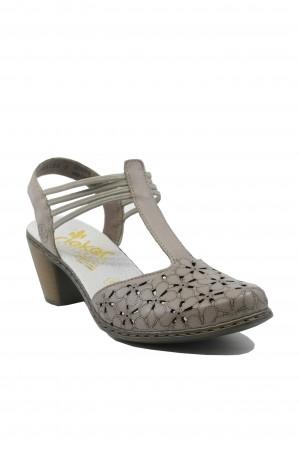 Pantofi damă casual bej decupați cu baretă T, din piele naturală