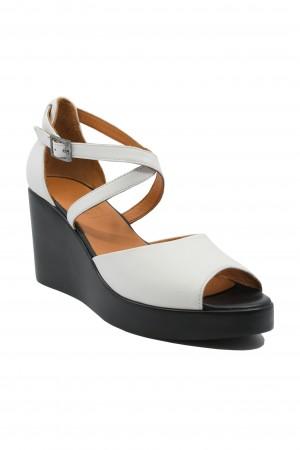 Sandale damă albe cu talpă ortopedică
