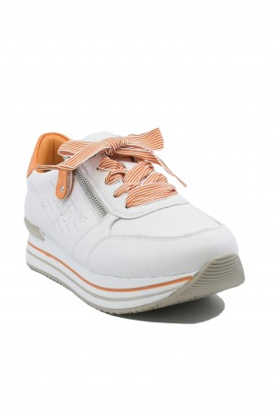 Pantofi sport damă alb-orange, din piele naturală