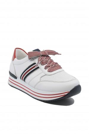 Pantofi sport damă alb cu roșu din piele naturală
