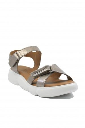 Sandale damă bronz sidefat din piele naturală