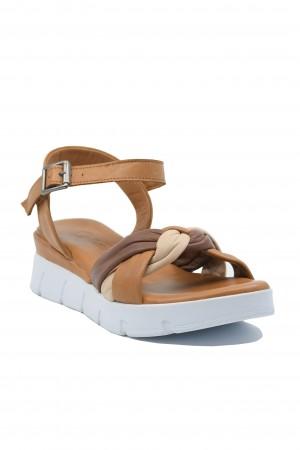 Sandale damă maro cu platformă, din piele naturală moale
