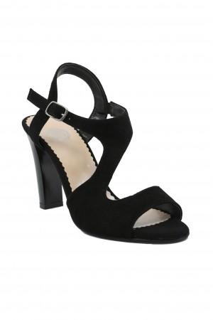 Sandale damă negre cu toc înalt, din piele întoarsă