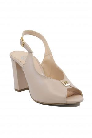 Sandale elegante nude cu toc bloc, din piele naturală