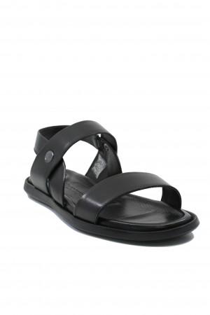 Sandale negre bărbați din piele naturală, cu design italian