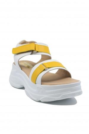Sandale damă stil sport alb + galben Anais