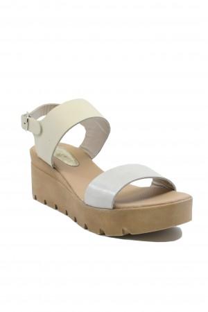 Sandale damă crem + perlat cu platformă Lea