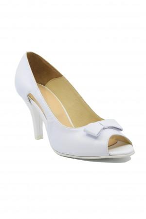 Pantofi damă decupați albi, din piele naturală