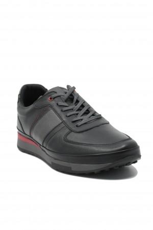 Pantofi sport bărbați, negru clasic, din piele naturală