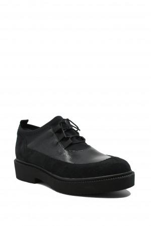 Pantofi casual damă Elisa, negri, din piele naturală