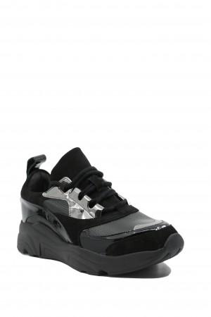 Pantofi sport damă Alana, negri, din piele naturală