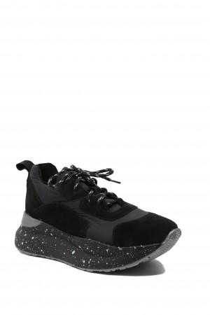 Pantofi sport damă Sindy, negri, din velur și fâș
