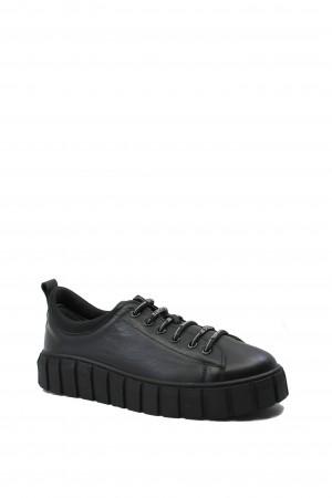 Pantofi sport din piele naturală, negri, cu talpa înaltă