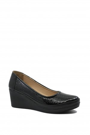 Pantofi damă negri din lac, cu talpa ortopedică