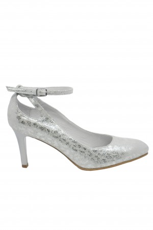 Pantofi eleganți argintii cu baretă, din piele întoarsă