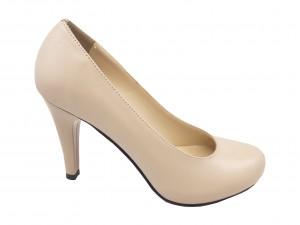 Pantofi stiletto bej din piele naturală