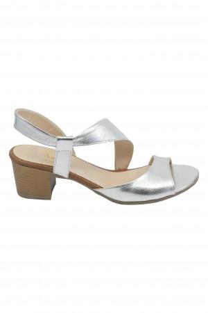 Sandale Vera argintii din piele naturală