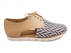 Pantofi damă decupați casual bej și mozaic