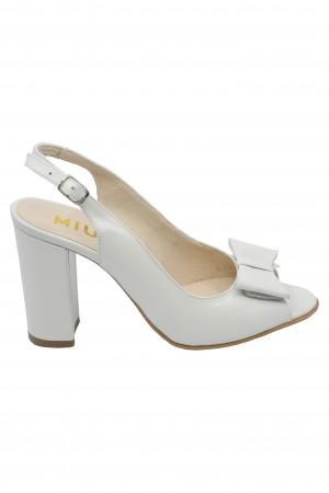 Sandale damă albe decupate din piele naturală