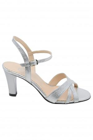 Sandale damă argintii din piele naturală