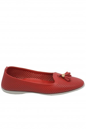 Balerini roșii perforați, din piele naturală
