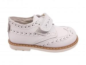Pantofi unisex albi din piele naturală